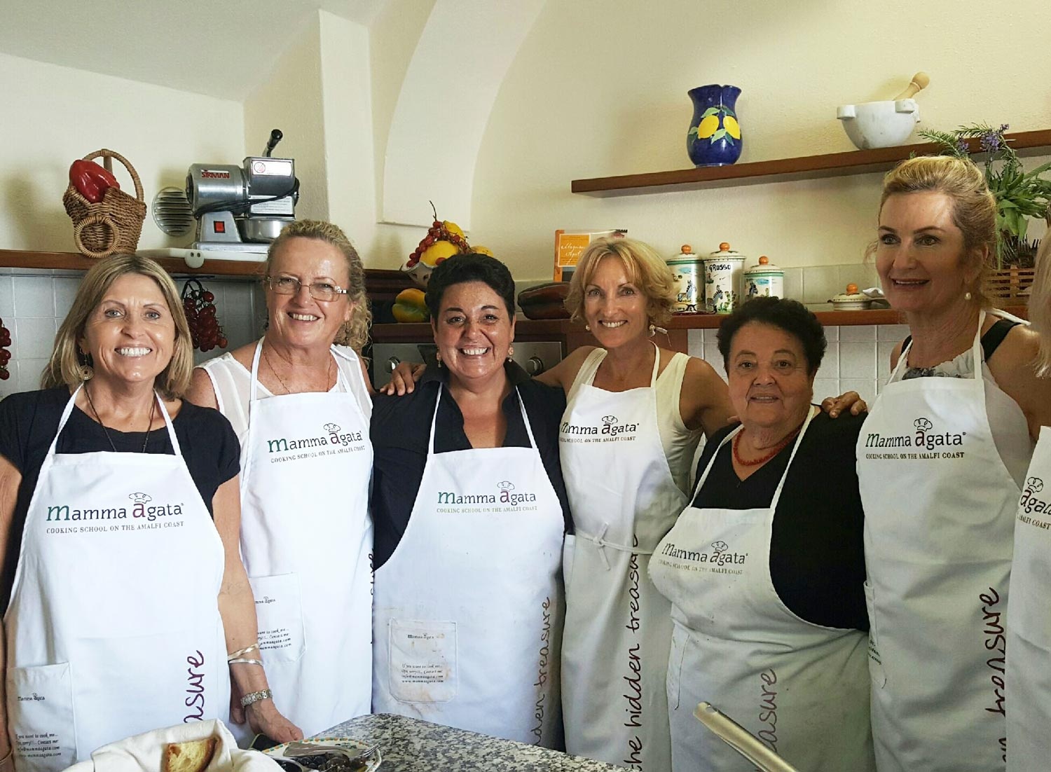 Group tour attending a Cooking class at Mamma Agatas