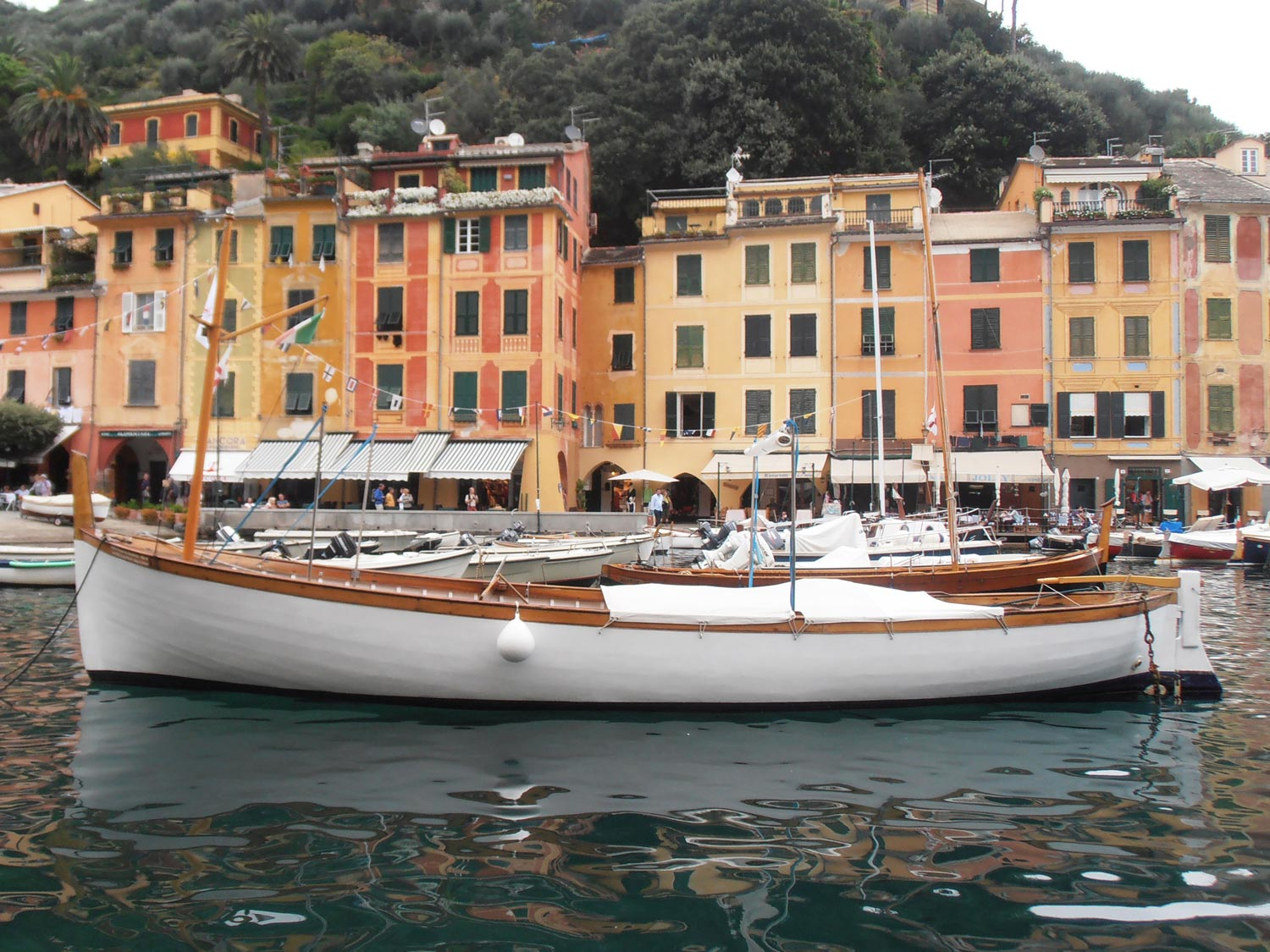 The boats and buildings at Portofino marina